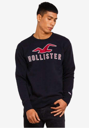 Hollister 黑色 LOGO棉T 1C0B8AA7DFC9C7GS_1
