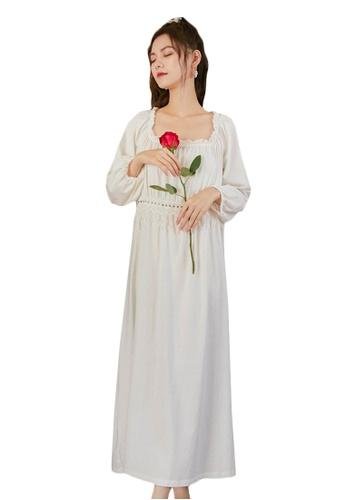LYCKA white LML1315-Lady One Piece Long Sleeve Lace Sleepwear-White 0D055AAB68A7B7GS_1