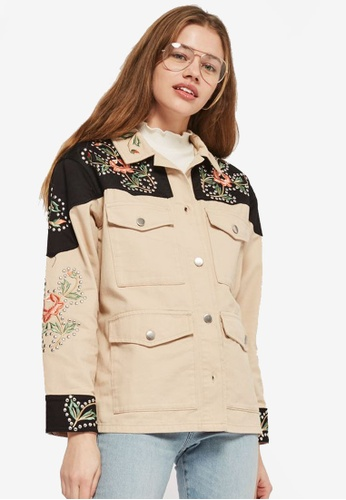 TOPSHOP beige Rodeo Shacket 1C138AA5F63EC6GS_1