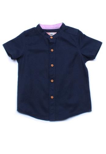 Mini Moley navy Brushed Cotton Classic Mandarin Collar Boy's Short Sleeve Shirt 46B30KA7186C14GS_1