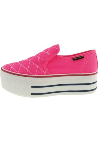 Maxstar 粉紅色 新款韩国鞋C50-Stitch時尚帆布布混合女粉紅色 US Women Size MA345SH86GTTTW_1