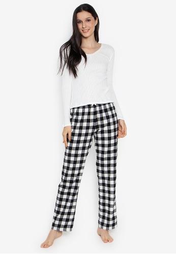a3b962e8de Shop Women Secret Long Pajama Set Black And White Checkered Pants ...
