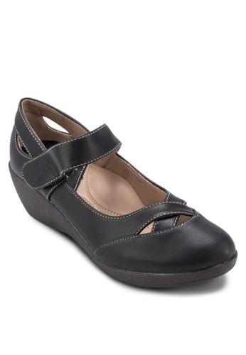 Mary Jane 圓esprit台灣頭仿皮楔形鞋, 女鞋, 鞋