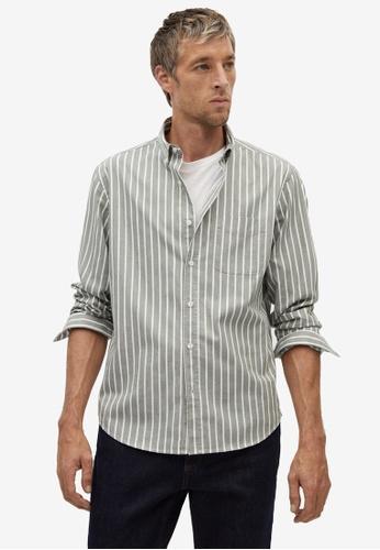 Mango Man green Regular Fit Striped Cotton Shirt 388AAAA0ED8BA9GS_1