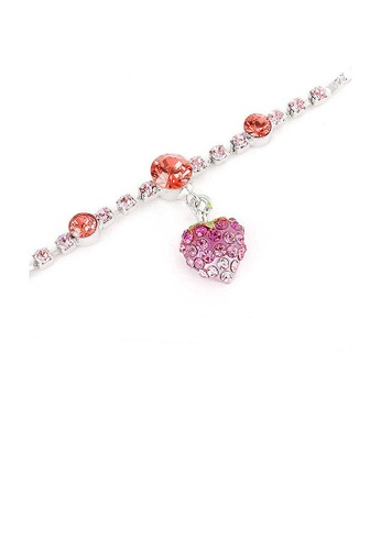 Glamorousky pink Fancy Bracelet with Strawberry Charm in Pink Austrian Element Crystals C5EDCAC74C082BGS_1