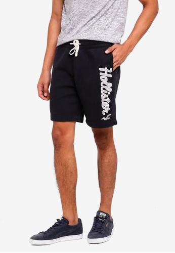 Hollister 黑色 Logo抽繩棉短褲 7854EAAB293FACGS_1