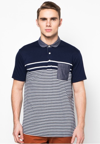 Stripe Single Jersey Combo Chambray Slimfit Polo Shirt