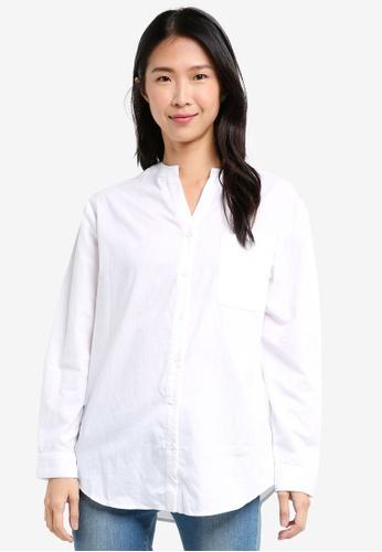 ZALORA white Oversized Shirt E693EAA913E167GS_1