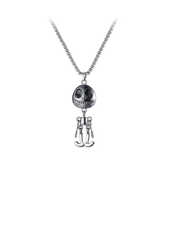Glamorousky silver Fashion Personality Skull Pendant with Necklace B795EACD1A0A40GS_1