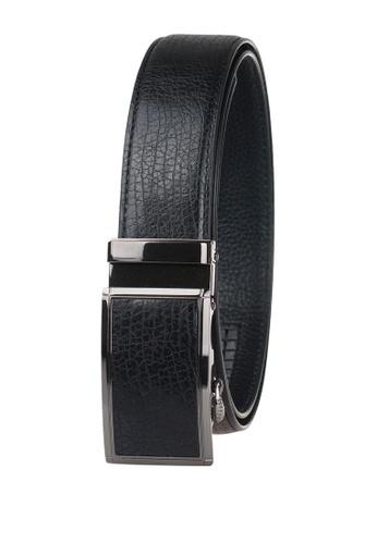 FANYU black Men Slide Buckle Automatic Ratchet Full Grain Leather Belt Black FA549AC78PWNSG_1
