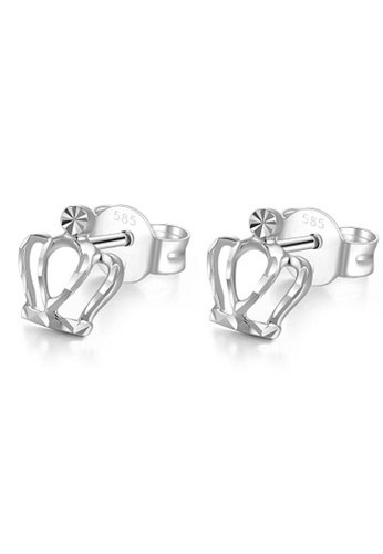 MaBelle silver 14K White Gold  Crown Princess Stud Earrings 567DCAC7D34C7DGS_1