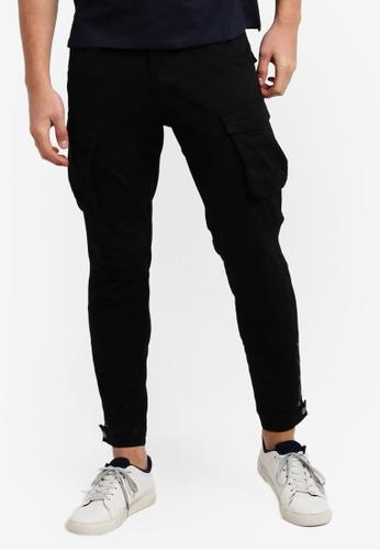 SPARROW GREEN black Uma Cargo Zip Cuff Jogger Pants SP065AA05LKCMY_1