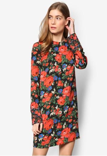 Lupita 玫瑰印花直筒長袖連身裙, 服飾, 洋esprit tw裝