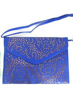 Sabina Oversized Laser-cut Envelope Tech Clutch in Cobalt Blue