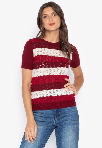 683ced393dd01 Kamiseta red Ebcelin Short Sleeves Round Neck Knitted Blouse  D1BF7AA3D3B625GS 1