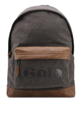 Gola grey and brown Harlow Canvas Backpack 488C0AC86BF238GS_1