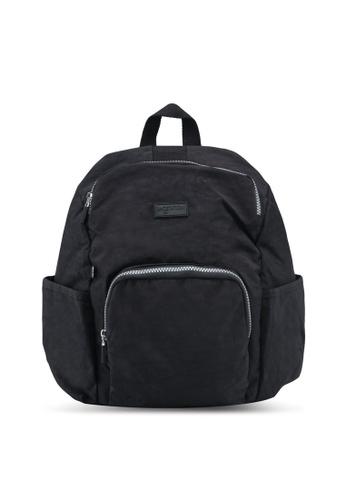 Bagstationz black Crinkled Nylon Backpack 77789AC0852D2BGS_1