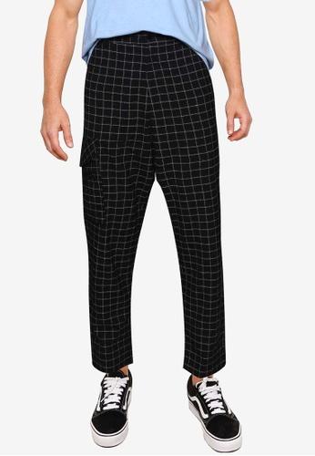 Mennace black Fleck Grid One Pkt Tapered Chino Pants CBF97AA606D243GS_1
