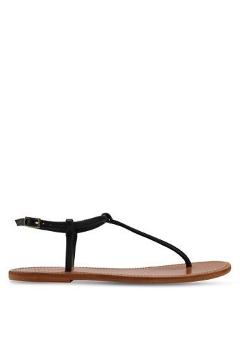 Mango black Leather Straps Sandals 20AFDSHAB69AA9GS_1