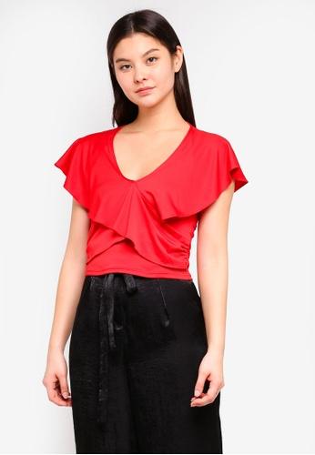 Miss Selfridge red Angel Sleeve Twist Blouse DCD7CAA9BD71EDGS_1