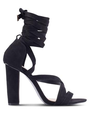 Miss Selfridge black Coco Wrap Heeled Sandals MI665SH29BVEMY_1