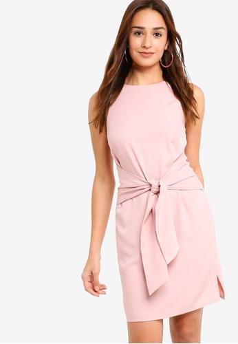 ZALORA pink Self Tie Shift Dress 229F5AA78E04AEGS_1