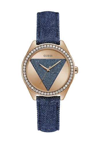 Jual Guess Watch Guess Jam Tangan Wanita Blue Rosegold Leather Strap W0884l7 Original Zalora Indonesia