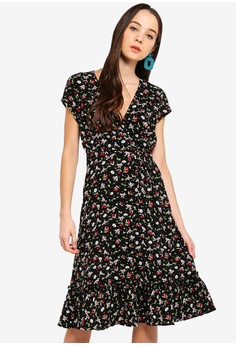 36e0d11ea2f Something Borrowed black and red Ruffles Hem Midi Wrap Dress  495DFAA8671A81GS 1