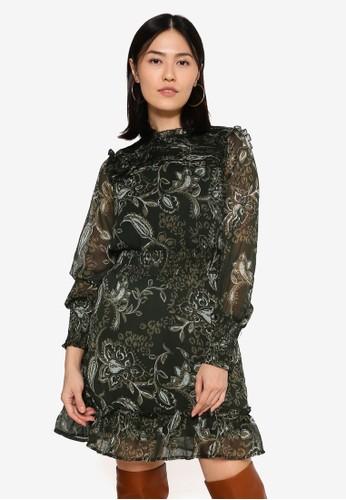 ONLY green Nana Long Sleeve Smock Dress 7D086AA309D607GS_1
