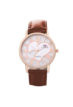 WH0033W Dual Heart Quartz Casual Man/Women Watch Stainless Steel Metal Round Dial