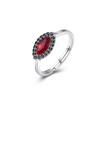 Glamorousky red 925 Sterling Silver Simple Fashion Geometric Adjustable Ring with Red Austrian Element Crystal E509DACB1E9723GS_1