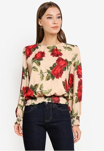 Dorothy Perkins brown Camel Floral Shirred Hem Top 34F13AA1F07788GS_1