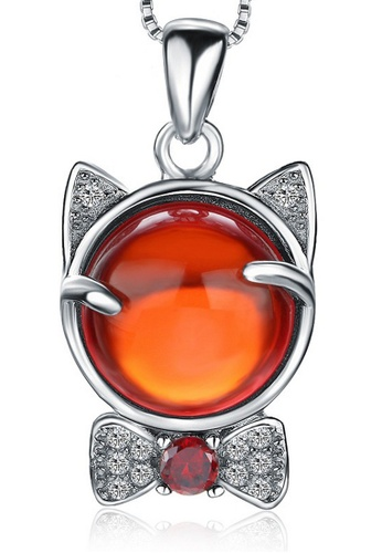 LYCKA red and silver LPP88161 S925 Silver Necklace 3D18FACB421EF2GS_1