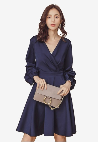Kodz navy Three Quarter Ruched Sleeve Dress A8B73AAA55565EGS_1