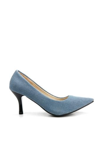 KissXXX 藍色 低反發舒適感美腿效果7CM小尖頭高跟鞋 KI603SH09MPQTW_1