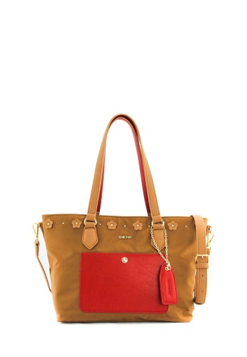 SEMBONIA brown SEMBONIA Nylon Trimmed Synthetic Leather Tote Bag (Light Brown) 4A03EAC2DA850EGS_1