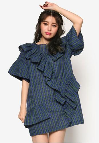 韓時尚荷葉飾esprit 旺角格紋連身裙, 服飾, 洋裝