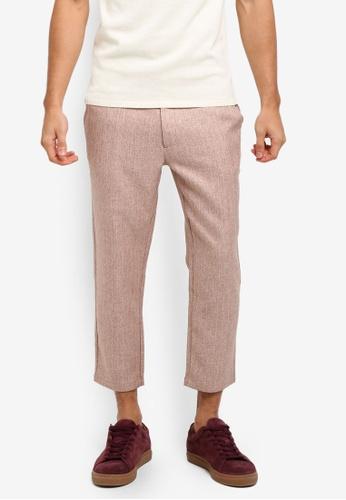 ZALORA pink Flat Front Striped Trousers F8609AA247E84FGS_1