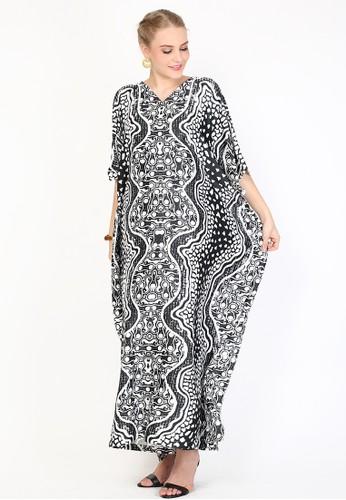 Kanzi by liza yahya black Kanzi Exclusive Short Sleeve Batik Kaftan Black and White A8222AAF935839GS_1