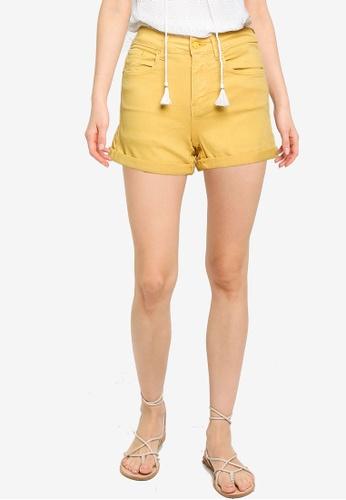 Springfield yellow Coloured Denim Shorts B4FC0AAAE03093GS_1