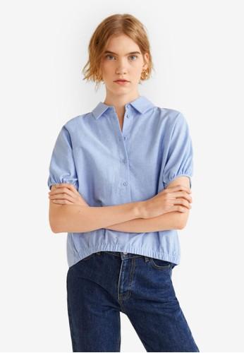 Mango blue Ruched Sleeve Shirt 40AB8AAB8EC0E1GS_1