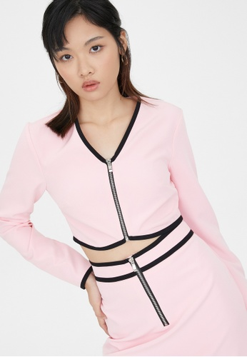 Pomelo pink Front Zip Long Sleeve Top - Pink C37E2AA3E62F9CGS_1