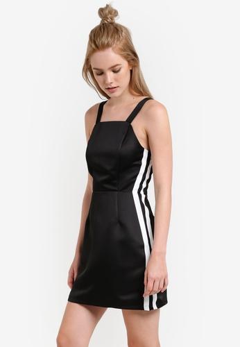Something Borrowed black Stripe Detail Pinafore Dress 64558AAD3A2855GS_1
