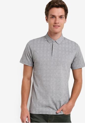 ZALORA grey AOP Check Print Polo Shirt 97BD0AAA4889C3GS_1