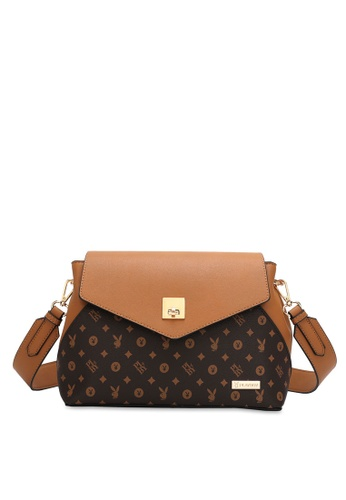 PLAYBOY BUNNY brown Logo Monogram Sling Bag AAA59AC37C3389GS_1