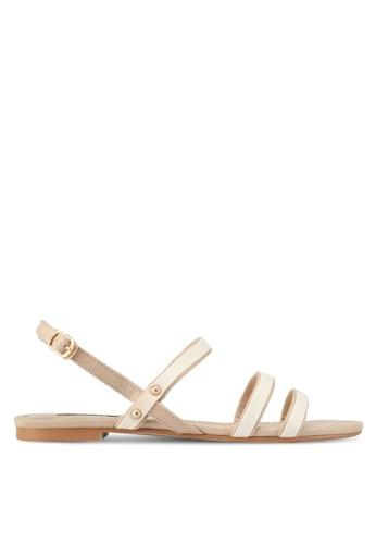 ZALORA beige Canvas Detail Sandals 1FEF0SH7E04643GS_1