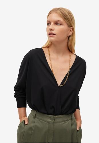 Violeta by MANGO black Plus Size Wrap V-Neckline Top C2E86AA20659EAGS_1