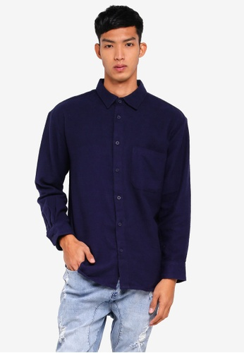 Factorie 海軍藍色 長袖法蘭絨襯衫 F5AB1AA115815DGS_1