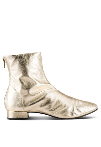 TOPSHOP gold Krome Leather Boots TO412SH39VLKMY_1