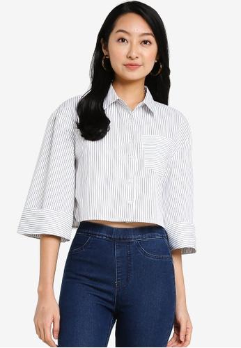 ZALORA BASICS white and multi Boxy Shirt With Volume Sleeves AB8CDAA289FA28GS_1